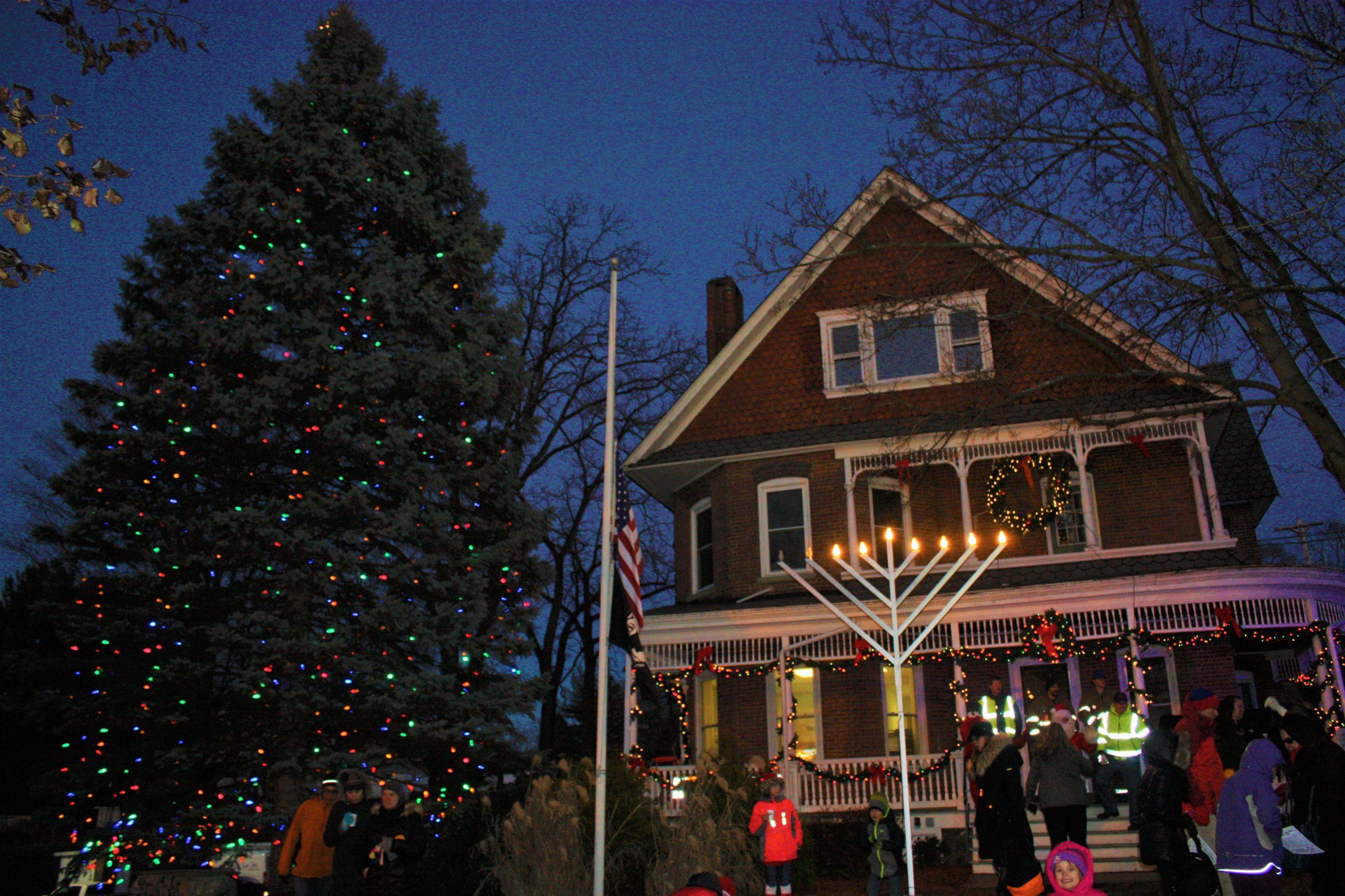 Lighted Tree & Village Hall