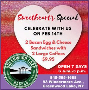Greenwood Lake Bagels - Greenwood Lake NY. 2 for one Valentine's Day Special. $9.95.
