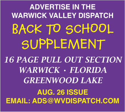 Advertise in the Warwick Dispatch's 2020 Back to School Supplement-- email us to today to find out more!